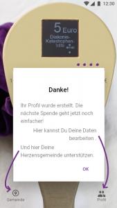 Danke-Bildschirm