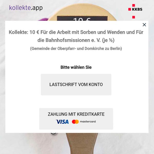 kollekte.app Zahlungsmittel
