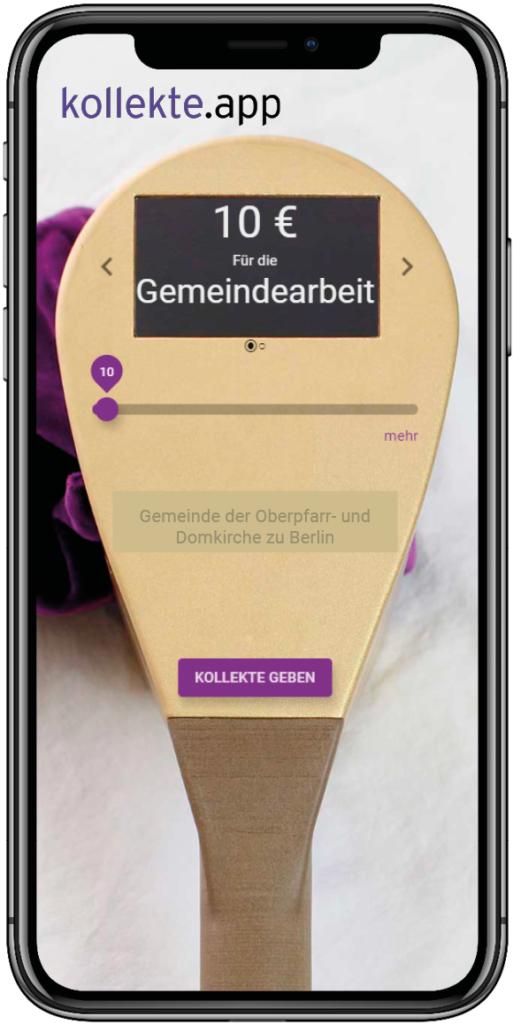 Nutzeroberfläche von kollekte.app auf einem Apple iPhone X
