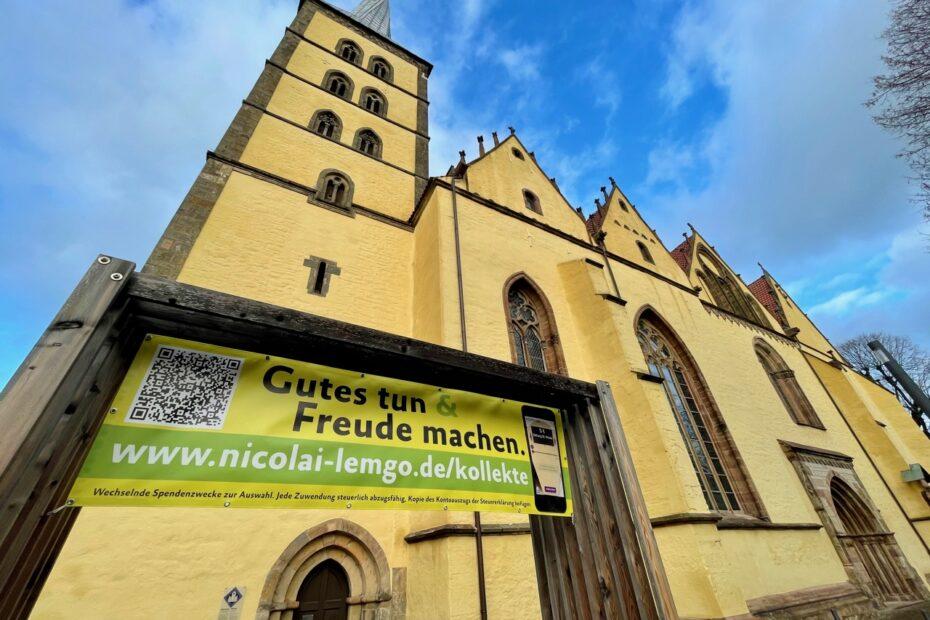 Plakat zu kollekte.app an St. Nicolai Lemgo (Bild: Pfarrer Dr. Lange)